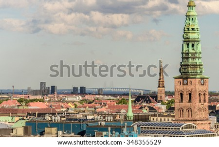 Crop view of the old part of the city with bridge (Church of Our Saviour, Sankt Nikolaj Kirke) from the observation deck at the Round tower (Rundetaarn) in Copenhagen, Denmark - stock photo