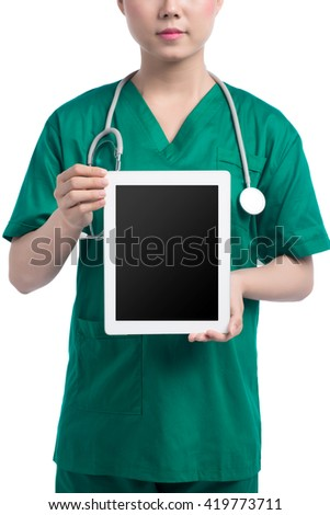 Cropped asian nurse shows a tablet pc, isolated on white background - stock photo