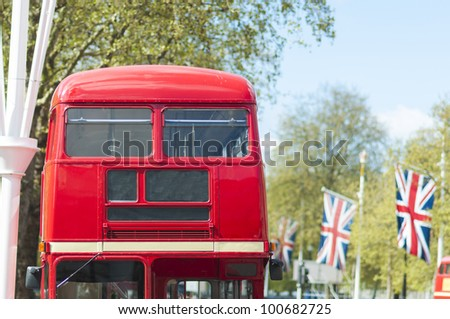 Cropped front shot of London red double deck bus with blank information panel. - stock photo