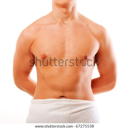 cropped image of a young man isolated over white - stock photo