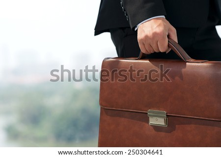 Cropped image of businessman carrying briefcase