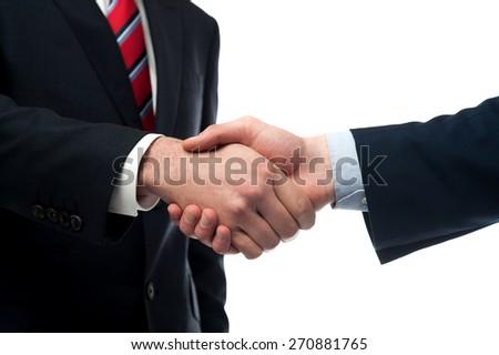 Cropped image of businessmen handshaking - stock photo