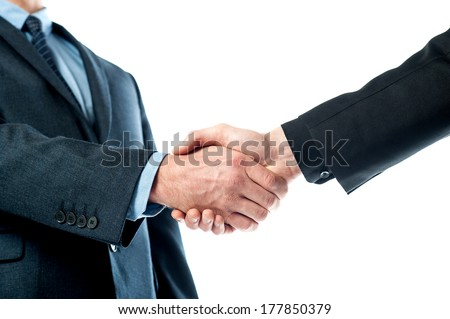 Cropped image of male executives shaking hands - stock photo
