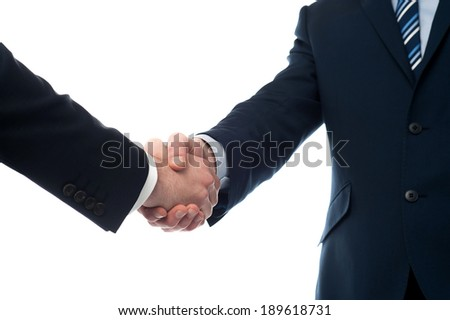 Cropped image of male executives shaking hands