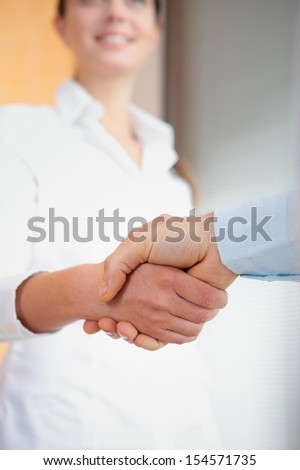 Cropped image of two executives shaking hands  - stock photo