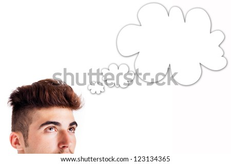 Cropped image of young man thinking, cloud for your text