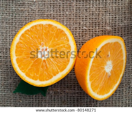 cropped oranges on sacking cloth