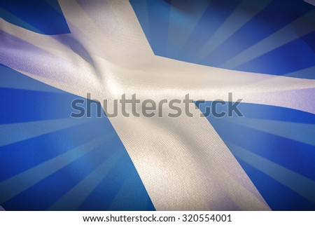 Cropped Scotland flag against linear design - stock photo
