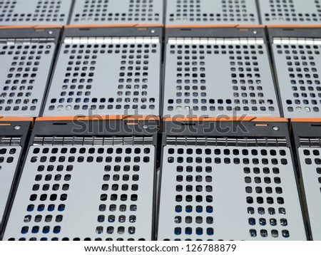 Cropped shot of network server boxes in a macro image. - stock photo