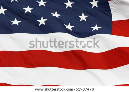 cropped shot of the american flag - stock photo