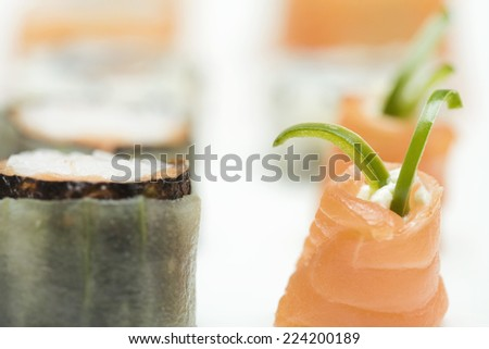 Cropped view of assorted maki-sushi, close-up