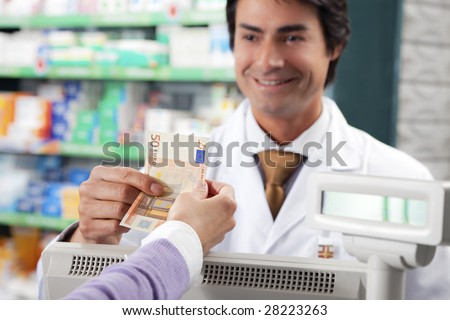 cropped view of woman shopping in pharmacy. Copy space - stock photo