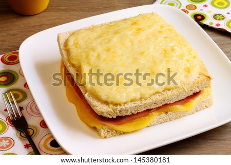 Croque Monsieur, a grilled ham and cheese sandwich traditional in ...