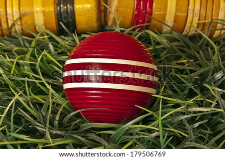 Croquet ball and mallets on green grass - stock photo