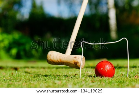 Croquet in the garden on a summer day - stock photo