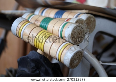 Croquet Mallets Lined Up - stock photo