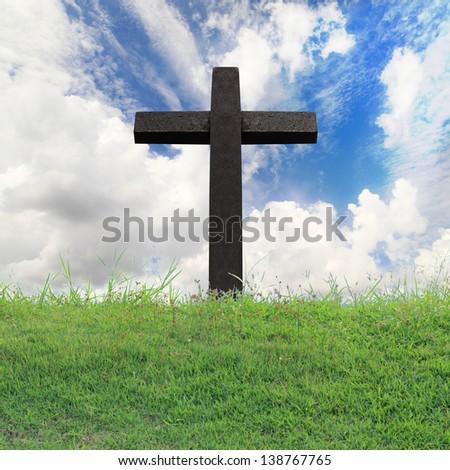 Cross against on blue sky - stock photo