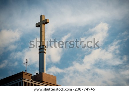 cross against the sky,