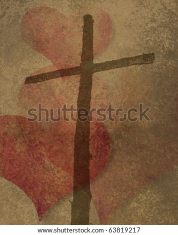 Cross and faded hearts on brown background - stock photo