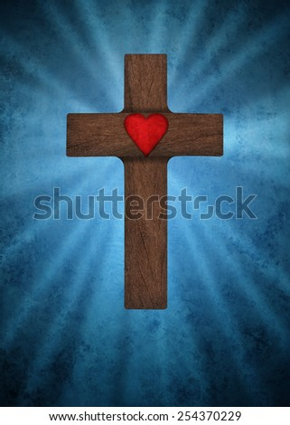 Cross and heart on a blue background - stock photo