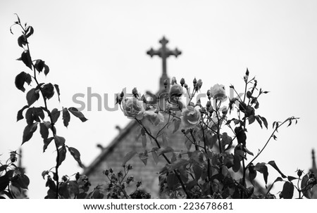 Cross and roses. A church in Dinan (Brittany, France). Selective focus on the flowers. Aged photo. Black and white. - stock photo