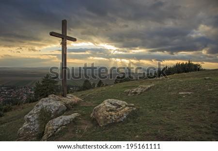 Cross and sunshine - stock photo