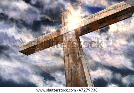 Cross and the light - stock photo