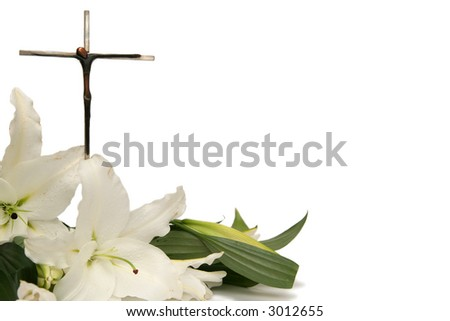 Cross and white easter lilies on a white background - stock photo