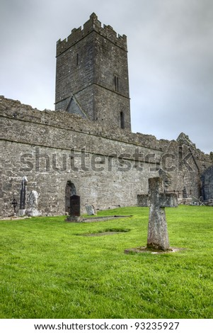 Cross at abbey in Ireland.
