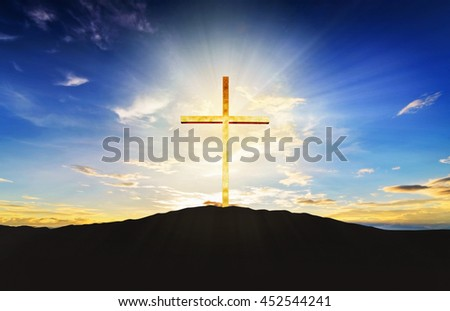 Cross at sunrise or sunset with amazing light background. Merry Christmas Card Thankful Adoration Glorify Peace Evangelical Hallelujah Blessing Amen Hope Religion concept. - stock photo