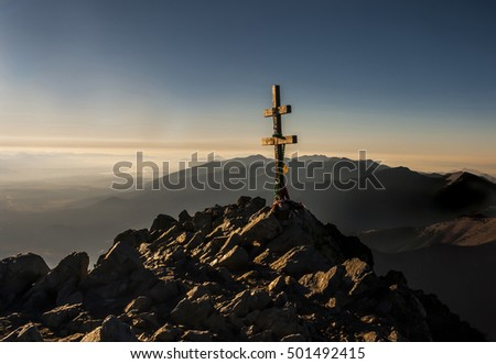Cross at the summit. Tatry. Slovakia