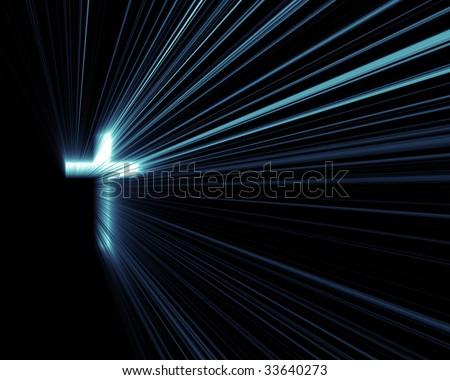 Cross Blue Lights - stock photo