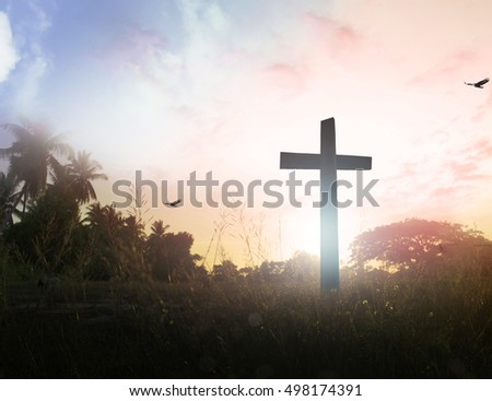 Cross. Blur, Autumn, Glorify, Peace, Bless, Amen, Religion, Hosanna, Lent, God, Mercy, Gospel, Crucifix , Hill, Worthy, Painful, Truth, Seek, Aim, Destination, Mission, Passion, Death, Jubilee concept