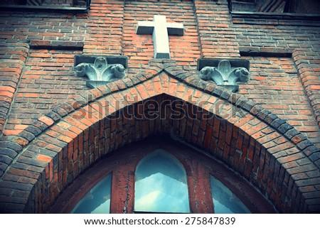 Cross Catholic Church sacred heart of Jesus - stock photo