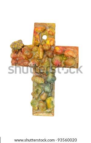 Cross. Children's handiwork in Sunday School - stock photo