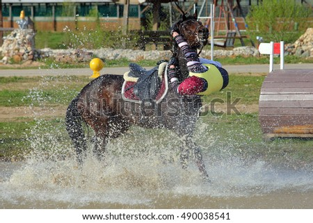 Cross country rider crashing out at the water jump