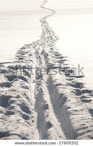 Cross country ski track across a field