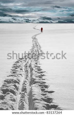 Cross country skier in red dress - stock photo