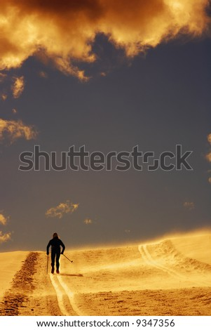 Cross country skier on snowy terrain at the  sundown