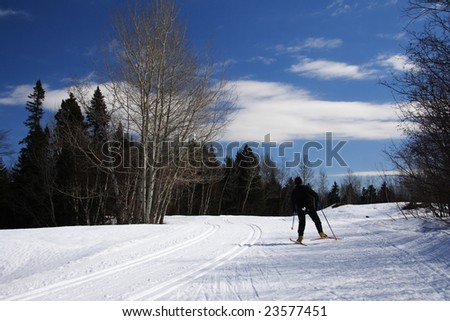 cross country skiing. free style skier and track. Mont Saint-Anne, Quebec, Canada - stock photo