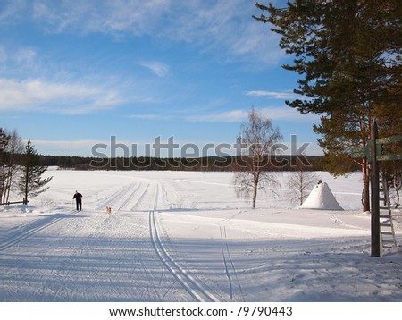 Cross-country skiing in a snow white Lapland landscape. - stock photo