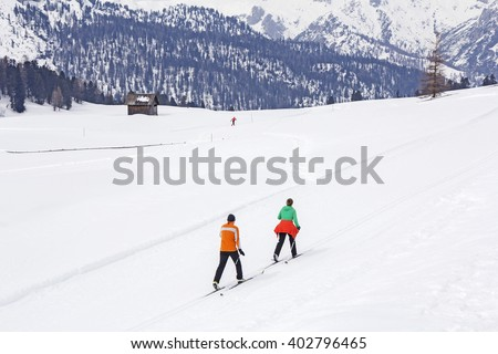 Cross-country skiing in nature park Fanes Senes Braies, Dolomites, Italy - stock photo