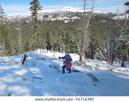 Cross country skiing in the Donner Summit area of the California Sierra Nevada Mountains - stock photo