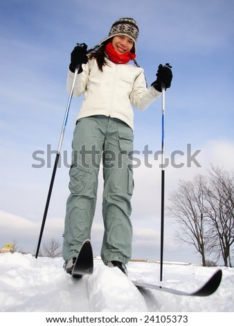 Cross country skiing on the Plains of Abraham (Plaines d'Abraham) with Chateau Frontenac in the background, Quebec City, Canada - stock photo