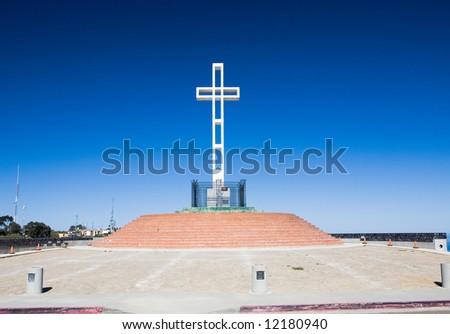Cross dedicated to veterans of American wars on top of Mount Soledad in La Jolla California