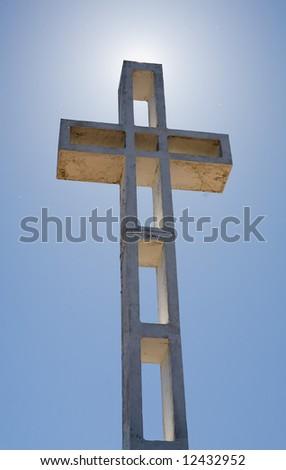 Cross dedicated to veterans of American wars on top of Mount Soledad in La Jolla California - stock photo
