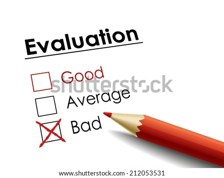 cross drawn on evaluation check box by a red pen  - stock photo