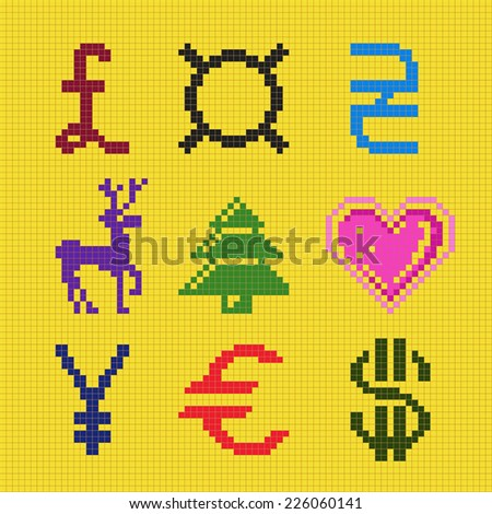 Cross embroidery pixel art currency christmas square scheme - stock photo