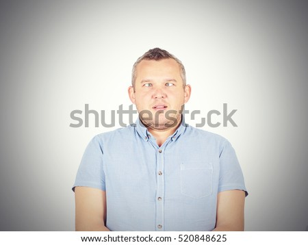 Cross-eyed man, funny faces.  isolated on background