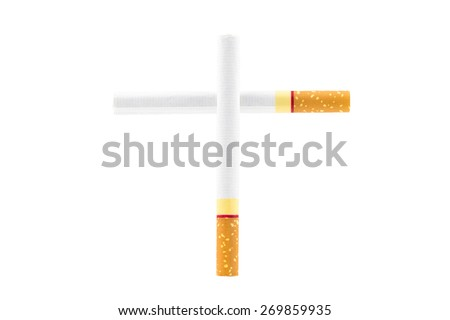 cross from cigarette on white background - stock photo